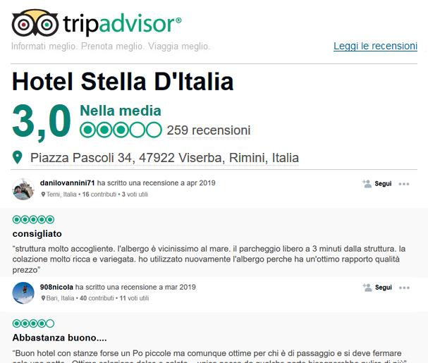 Recensioni Tripadvisor Stella d'Italia